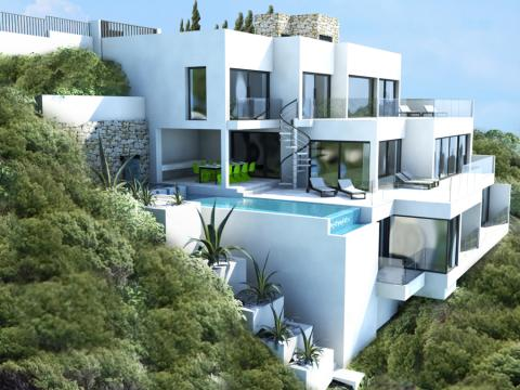 Luxury frontline villa for sale in canyamel mallorca with for Ultra modern house plans for sale
